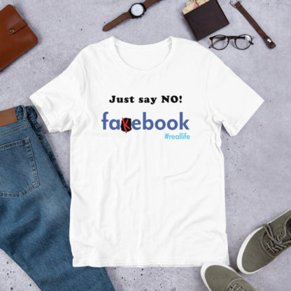 Just Say No to Fakebook Mens white T-shirt